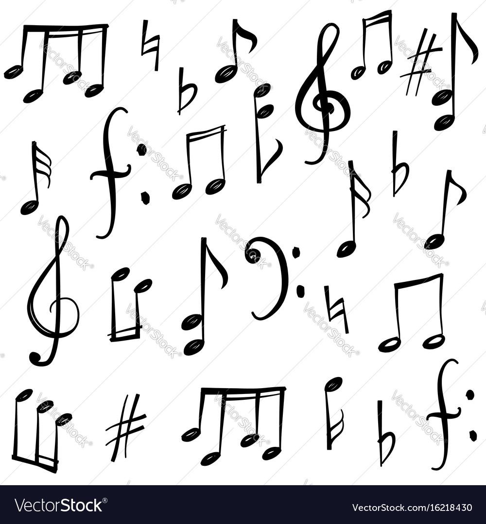 Music notes signs set hand drawn symbol