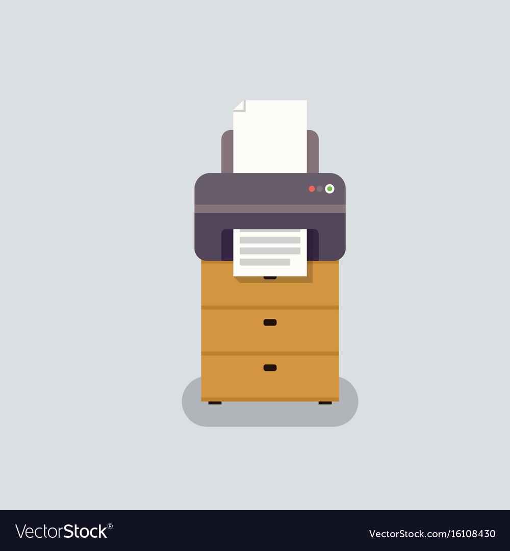 Office printer in flat stile vector image