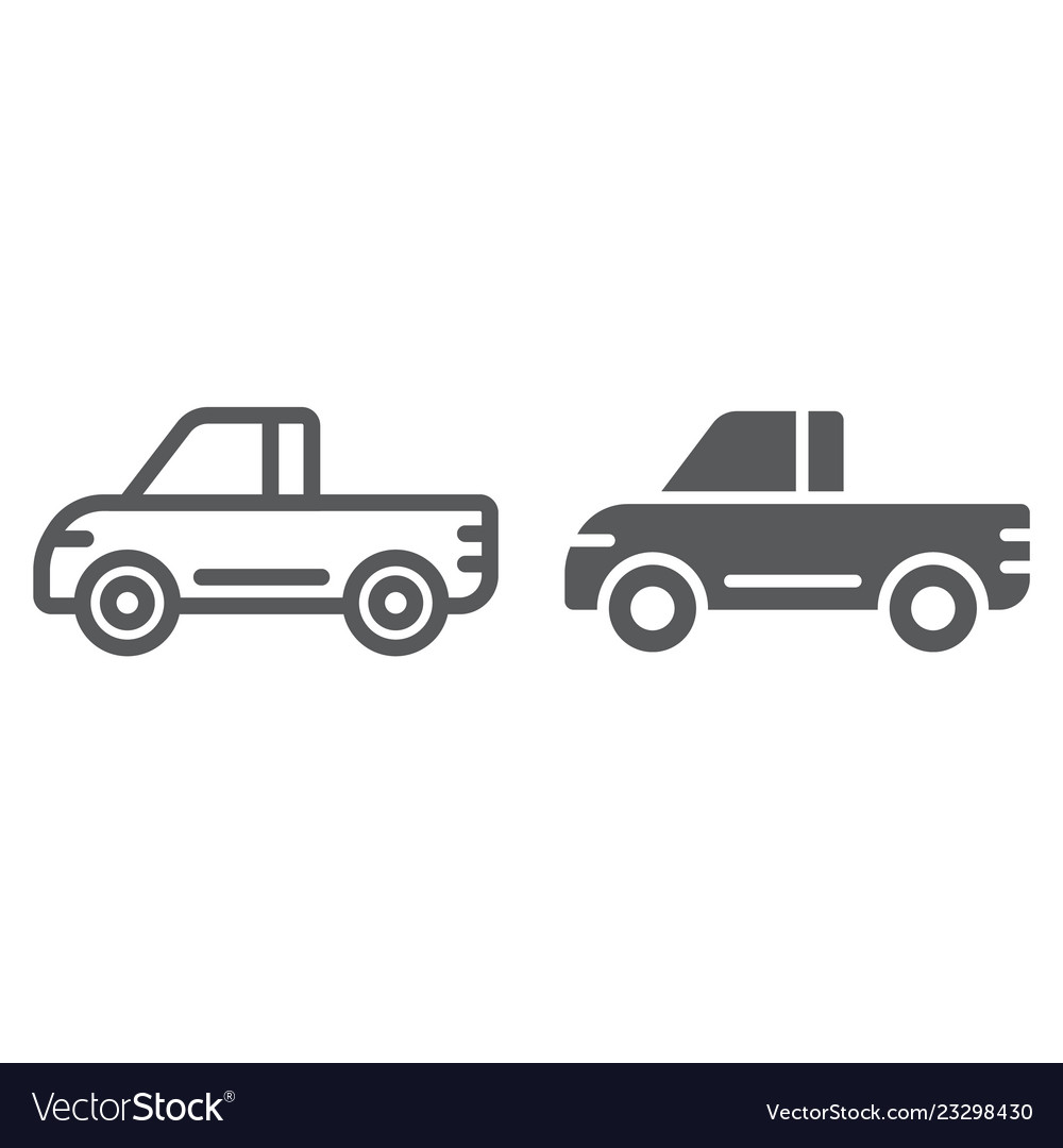 Pickup line and glyph icon van and auto car sign