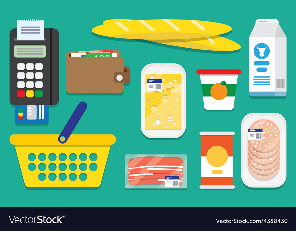 Set supermarket icons vector image