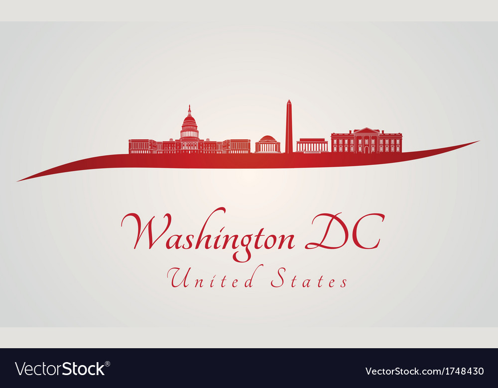 Washington DC skyline in red and gray background vector image
