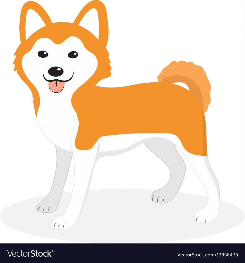 Akita inu breed dog icon flat cartoon style