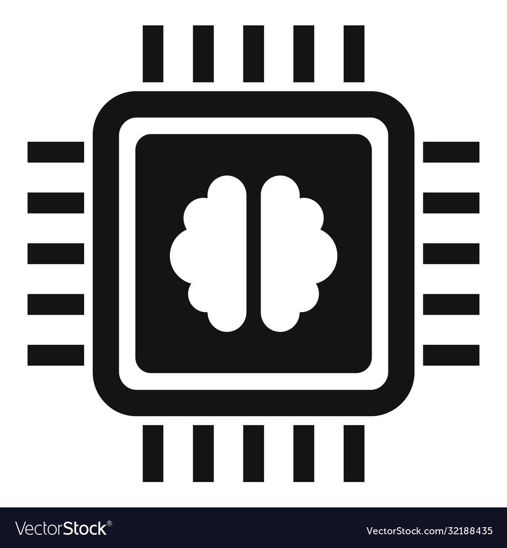 Brain ai processor icon simple style