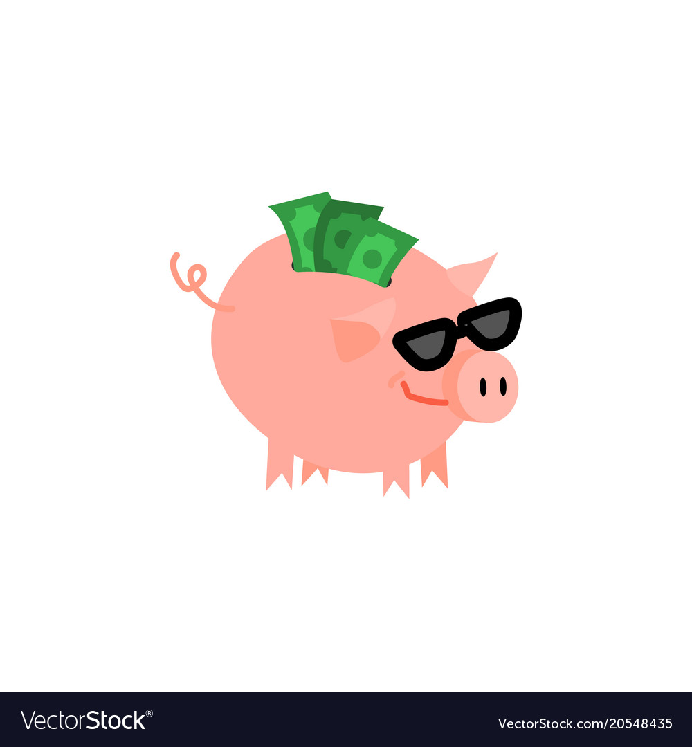 Cartoon Piggy Bank With Happy Face Royalty Free Vector Image