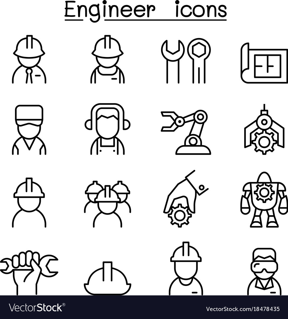 Engineer icon set in thin line style