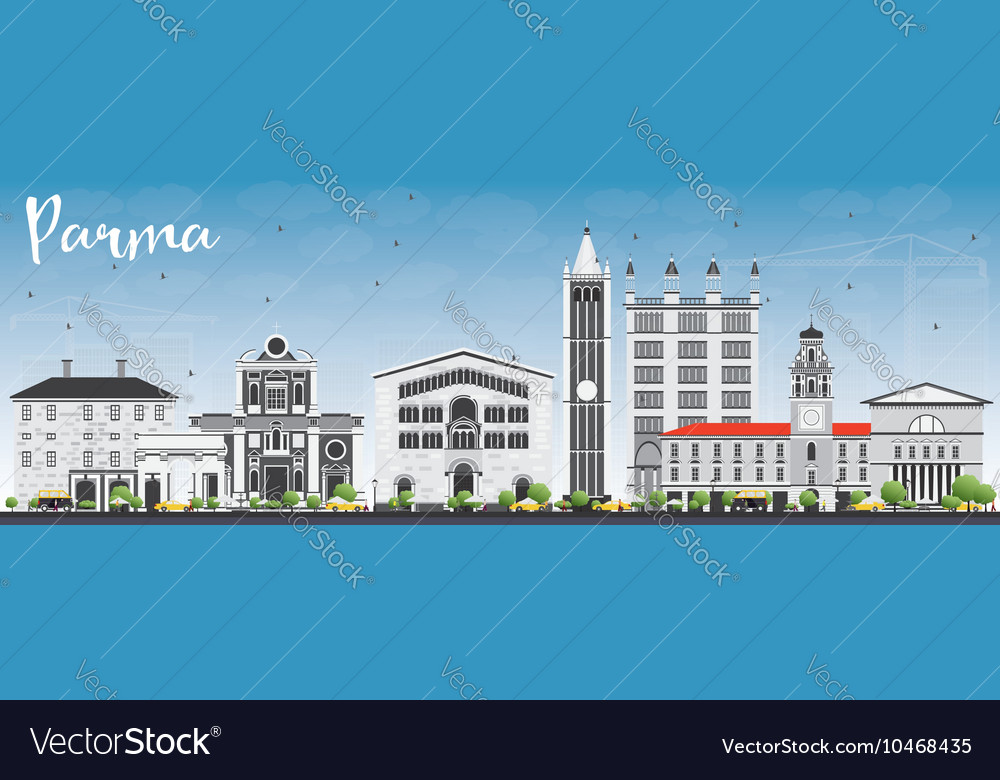 Parma Skyline with Gray Buildings and Blue Sky