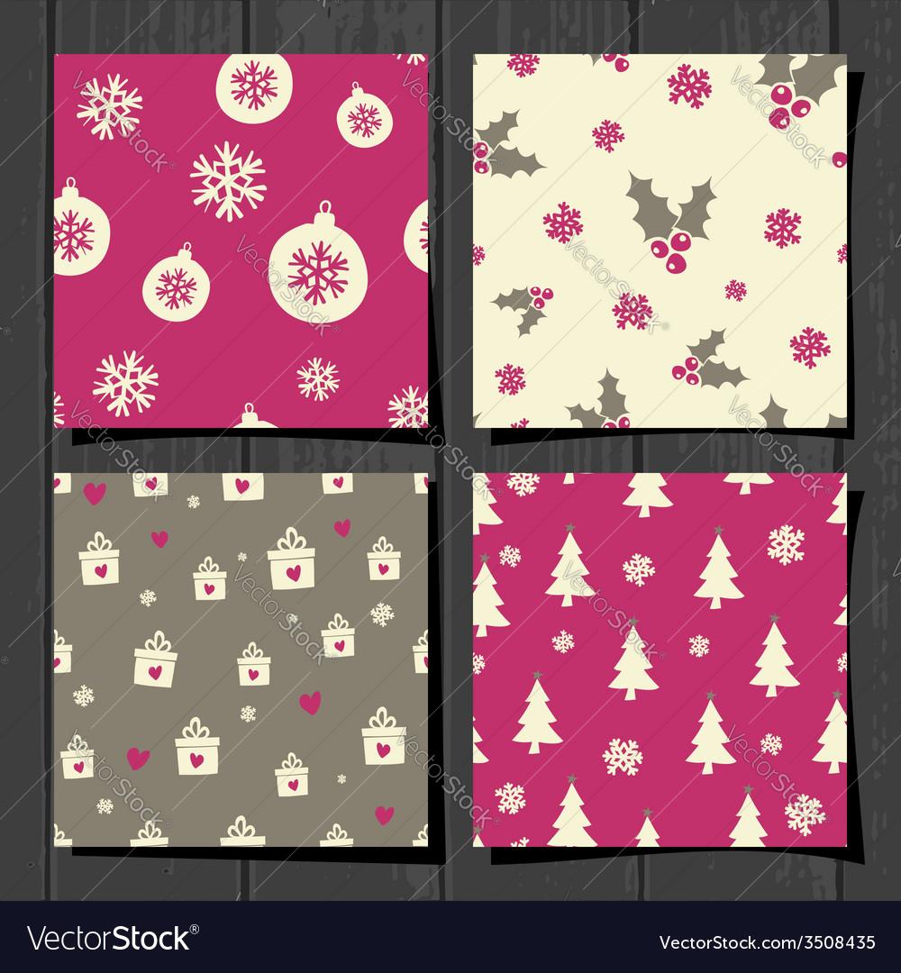 Retro style christmas seamless patterns set