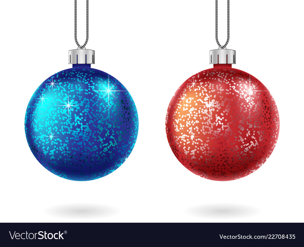 Set shiny christmas and blue ball isolated vector