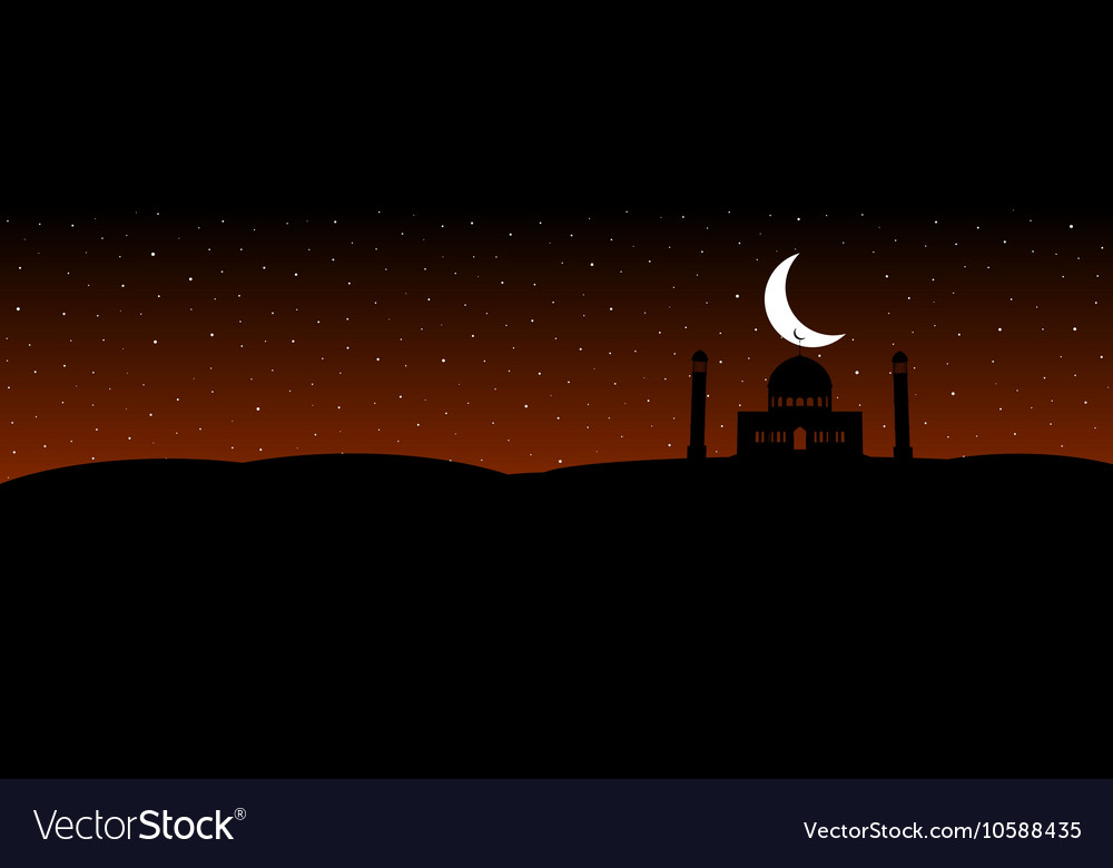 Silhouettes mosque with moon on the stars vector image