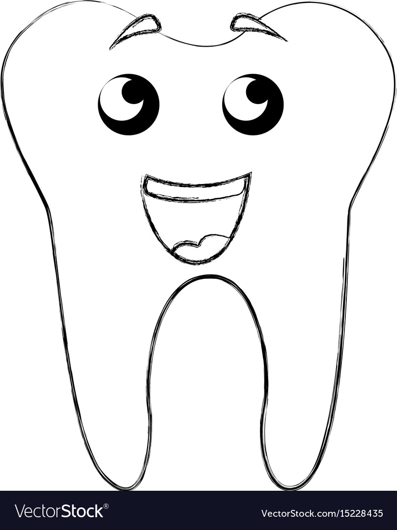 sketch draw tooth cartoon royalty free vector image