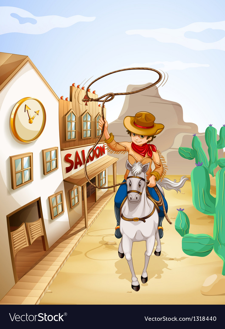 A cowboy riding in a horse holding a rope vector image