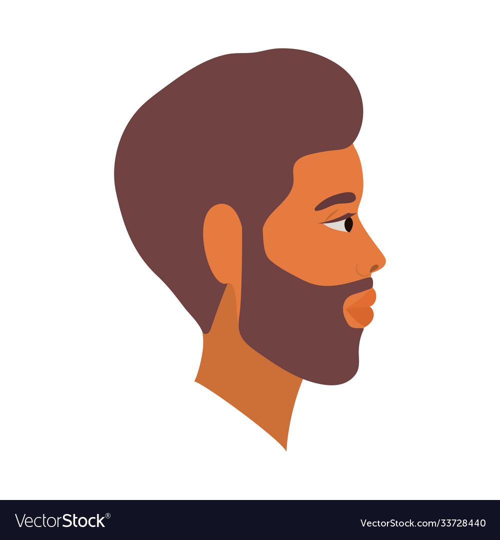 Brown Hair Man Cartoon With Beard In Side View Vector Image