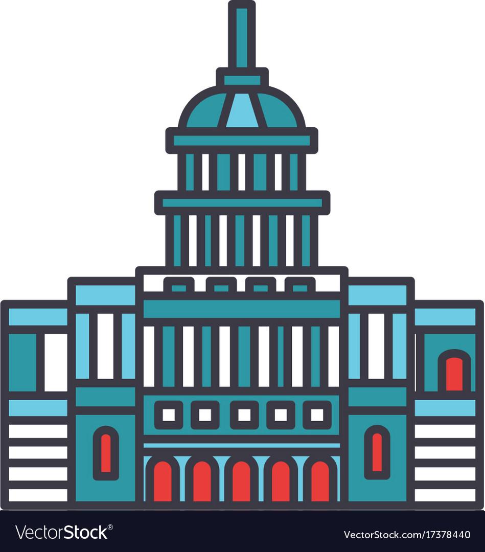 Capitol usa flat line concept