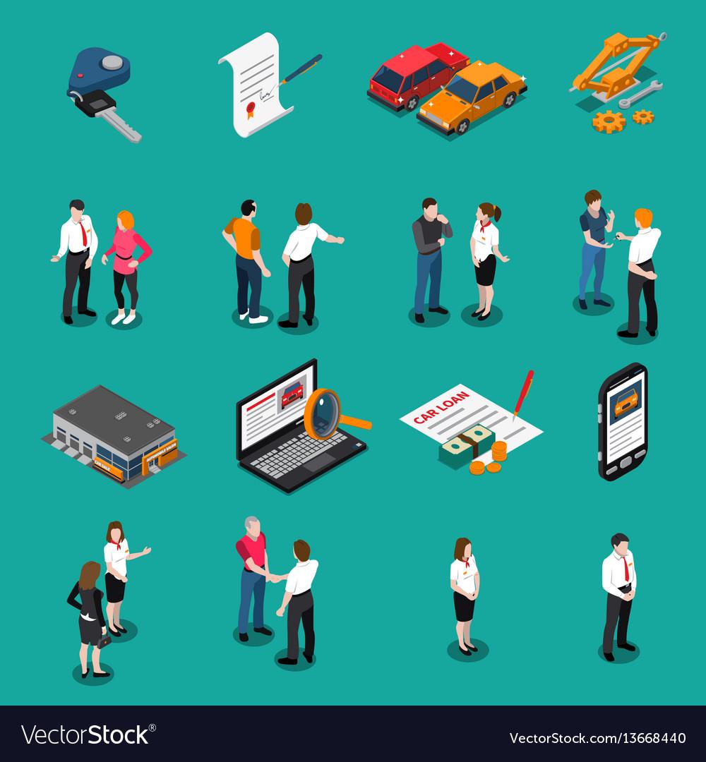 Car dealership isometric icons set