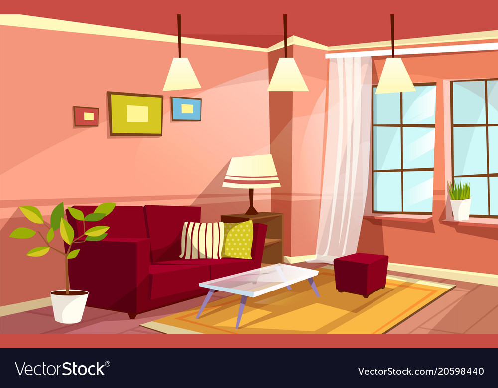 Cartoon living room apartment interior royalty free vector for Online drawing room