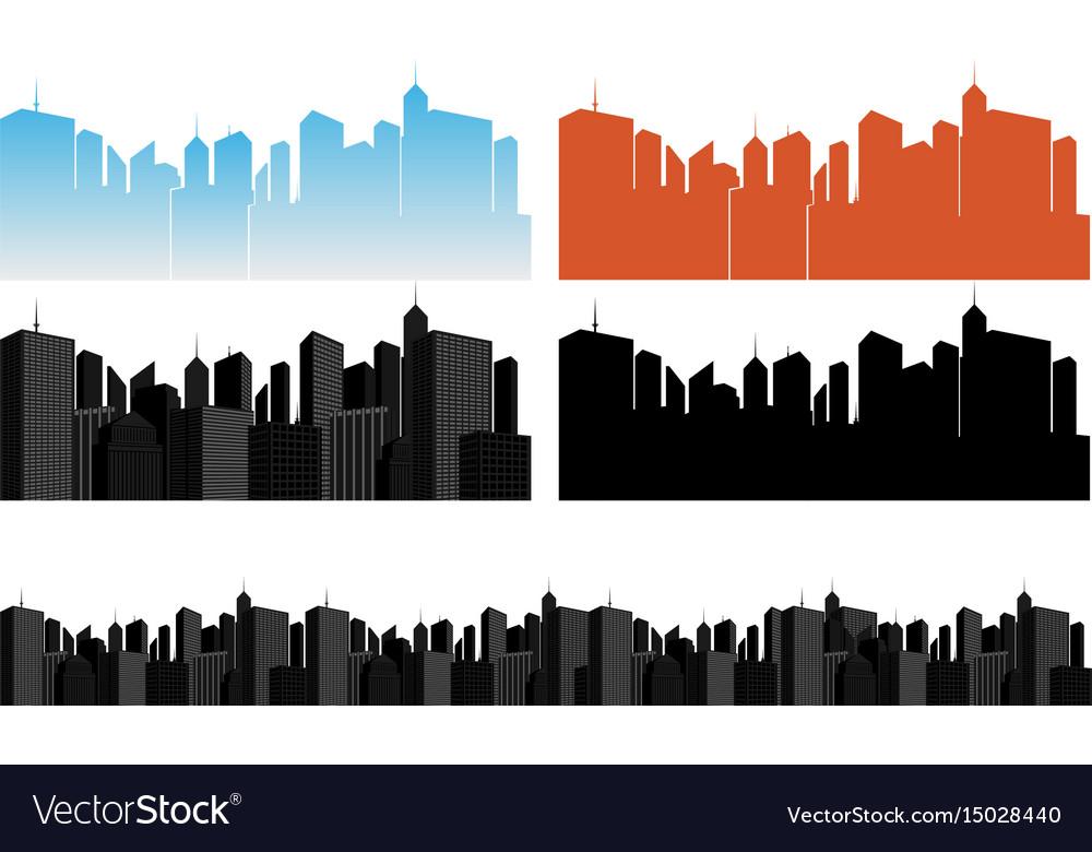 City icons set on white