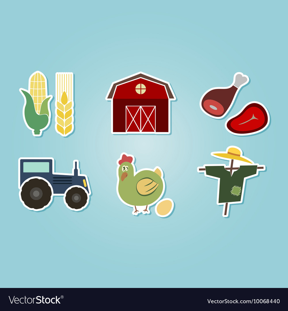 Color set with farm icons vector image