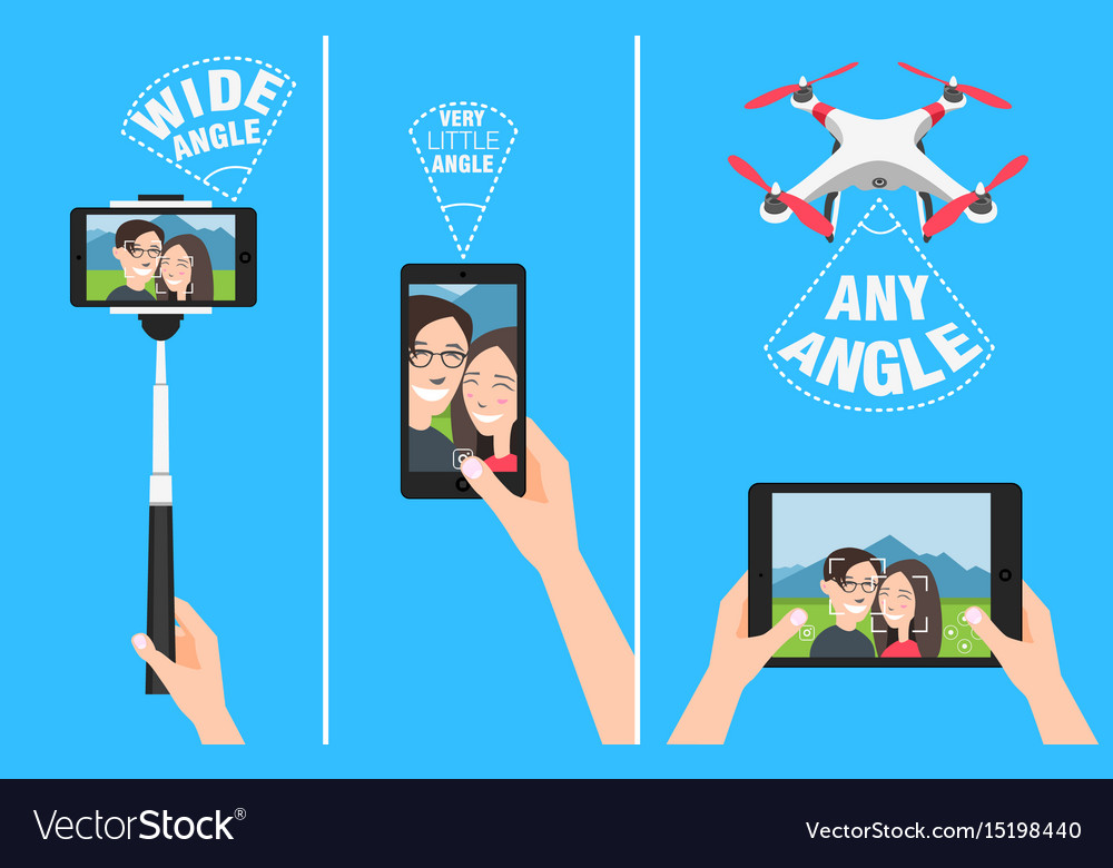 Couple making selfie with drone selfiestick and