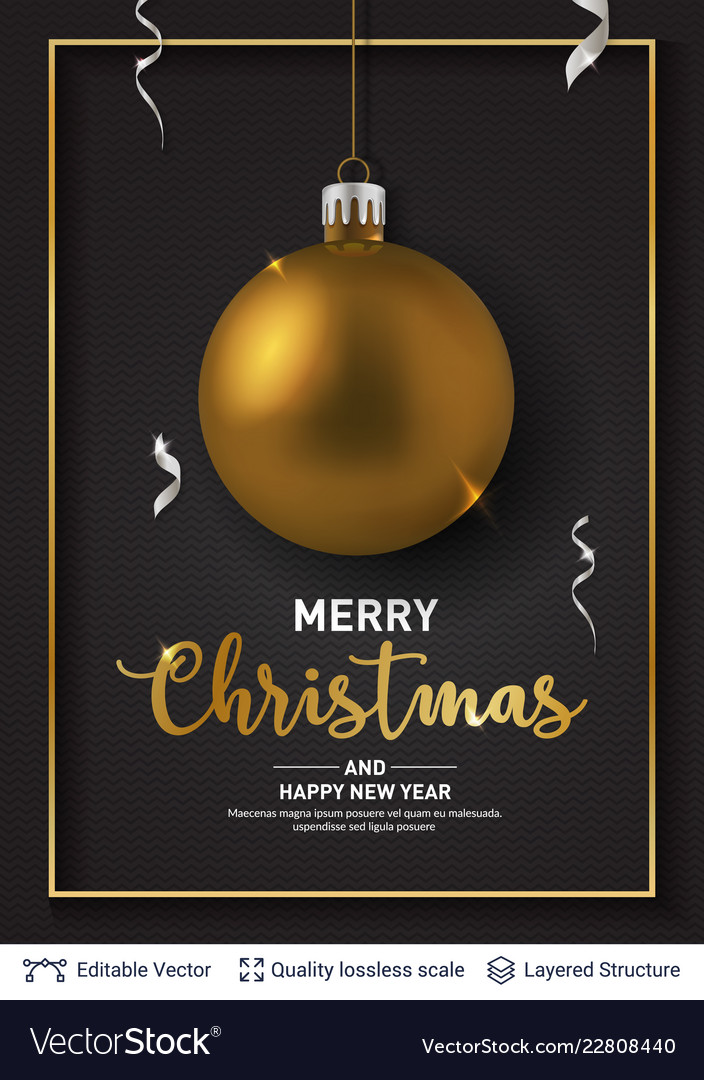 Golden christmas ball and text on dark background