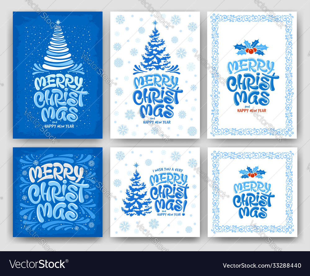 Merry christmas greeting card set with artistic