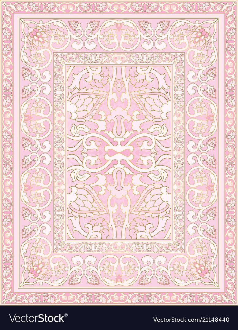 Pink ornamental carpet vector image