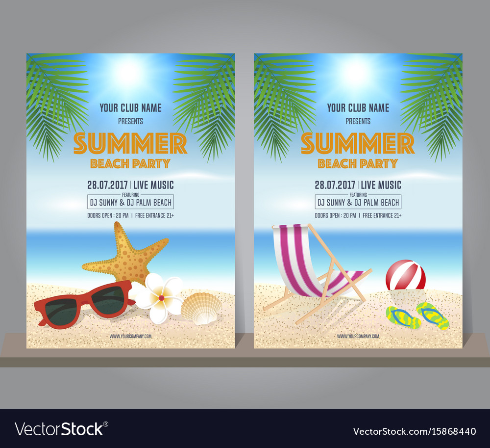 Set of summer beach party design template
