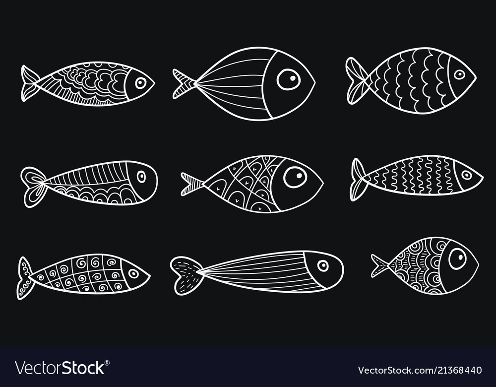 Set stylized fishes collection of