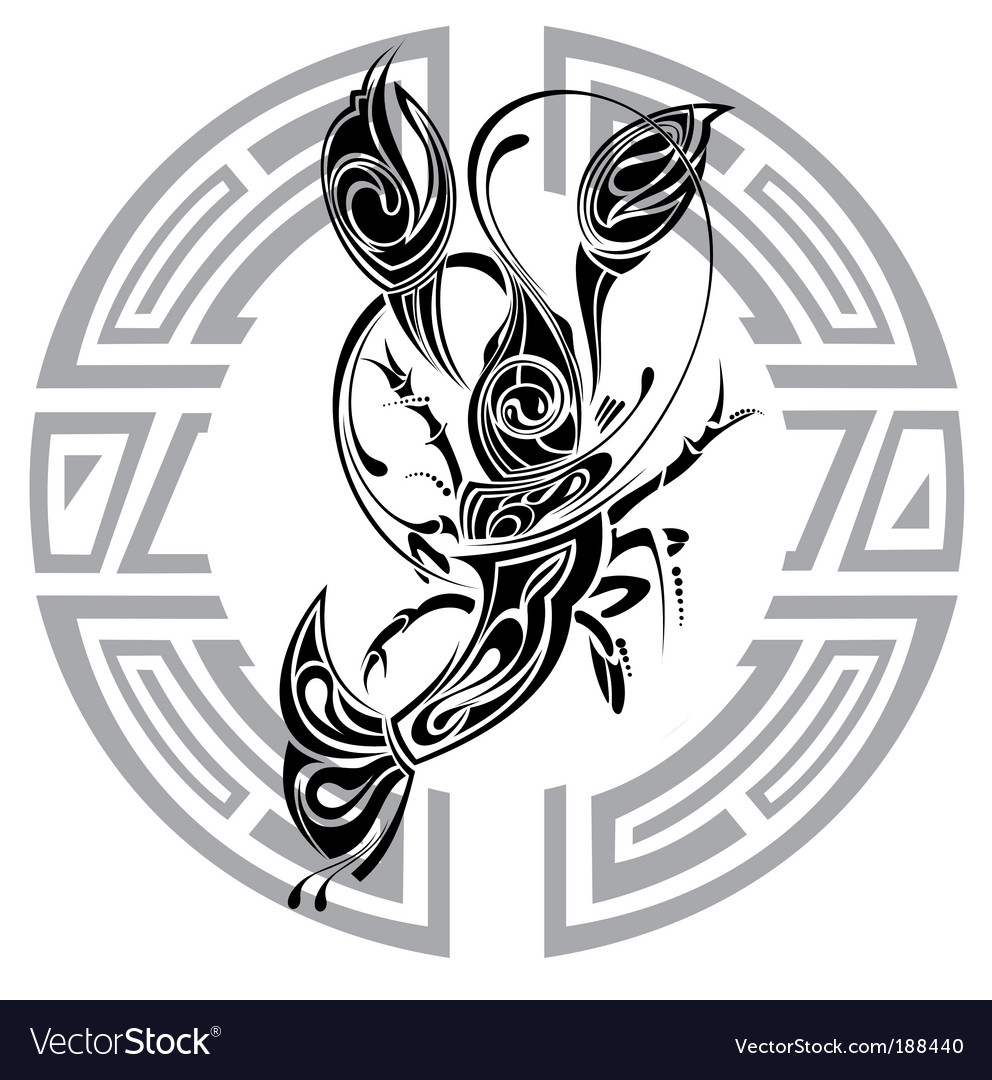 Sign Of Cancer Tattoo Design Vector. Artist: galina; File type: Vector EPS