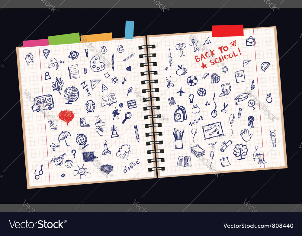 Sketches on page vector image