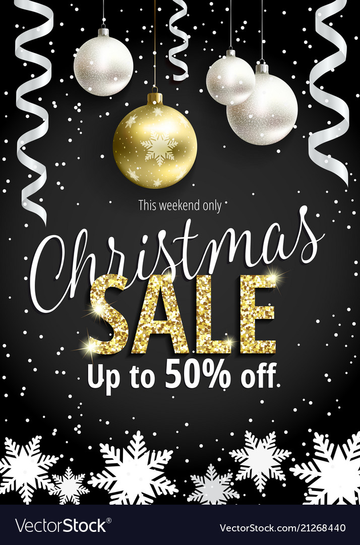 The christmas sale black banner for web or flyer