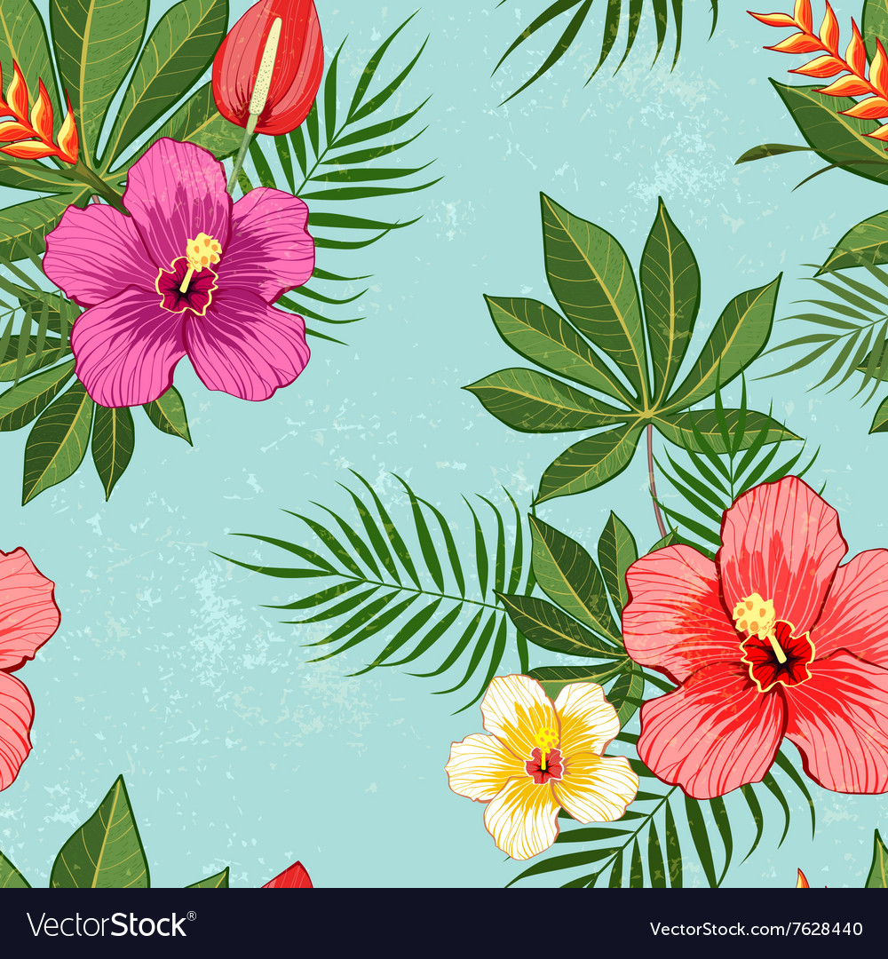 Tropical Flowers Pattern Royalty Free Vector Image