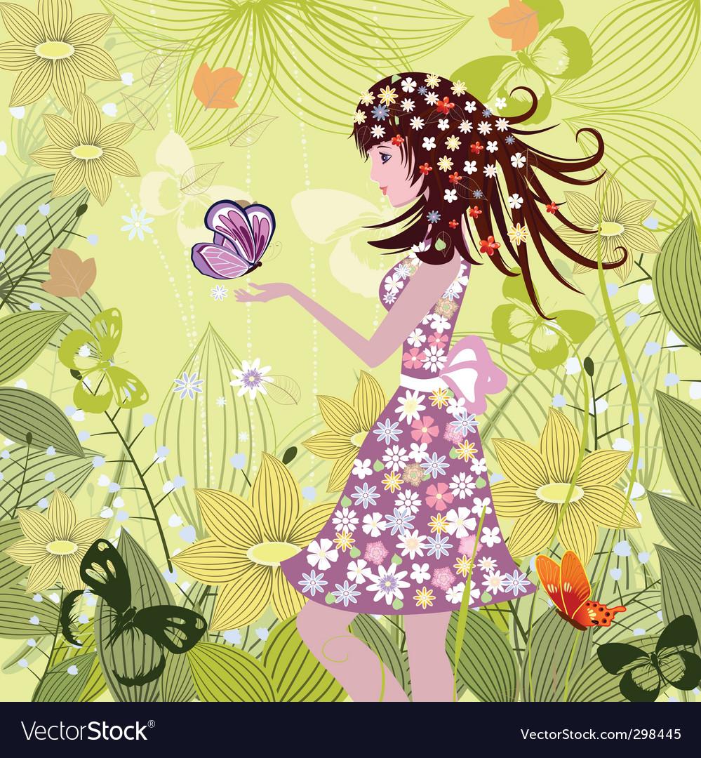 Cartoon girl vector image