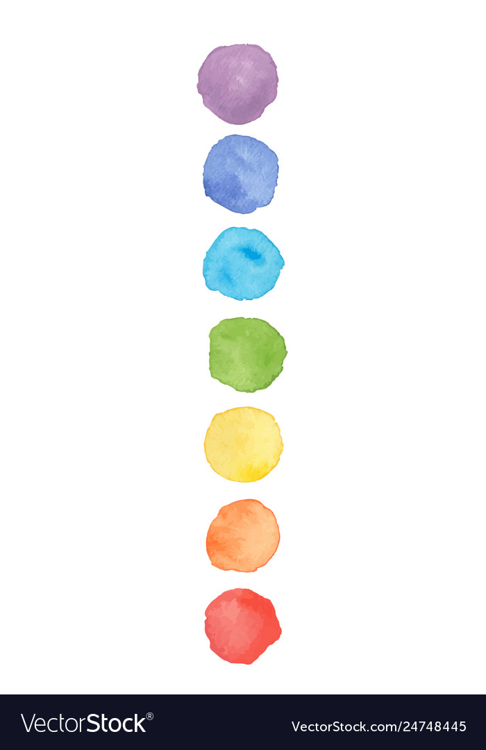 Chakra colors watercolor stains