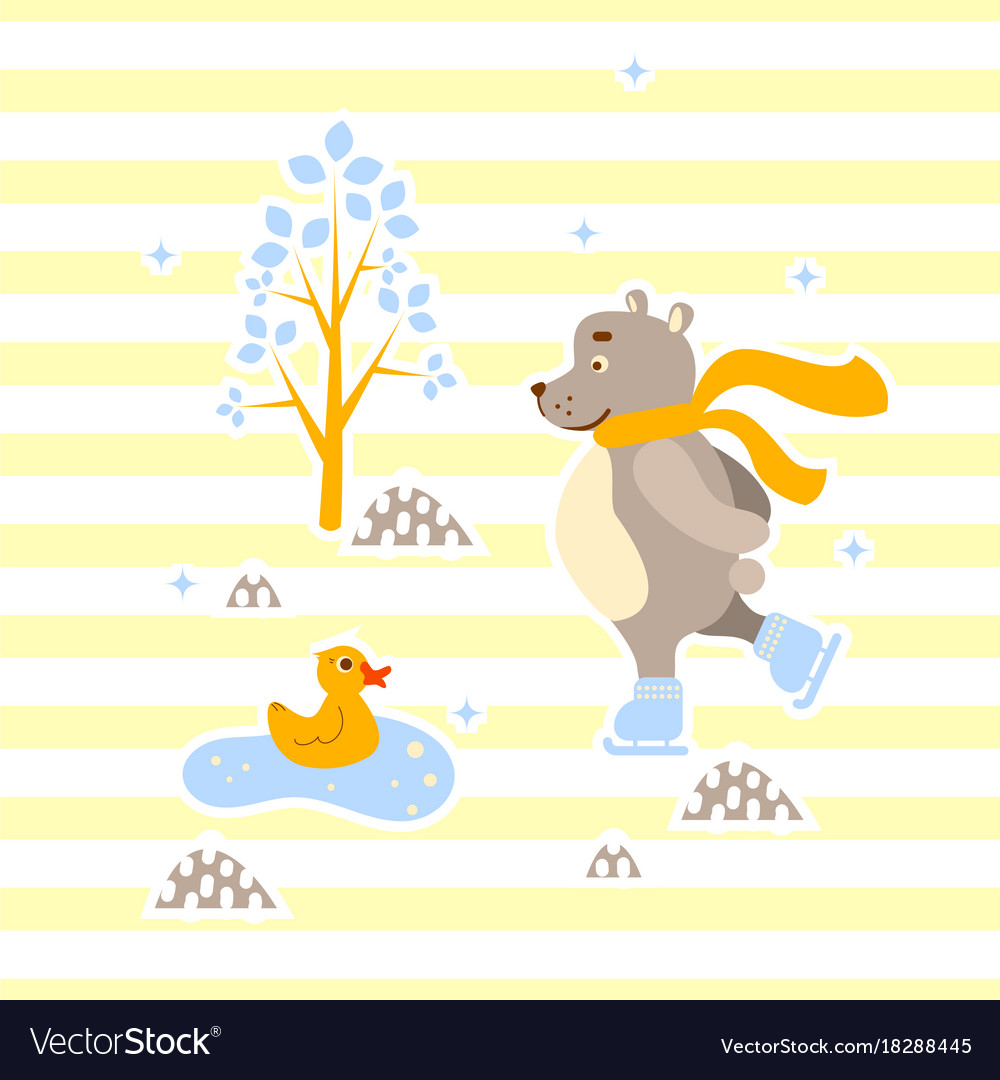 Cute Bear And Duck Friends Ice Skating Royalty Free Vector