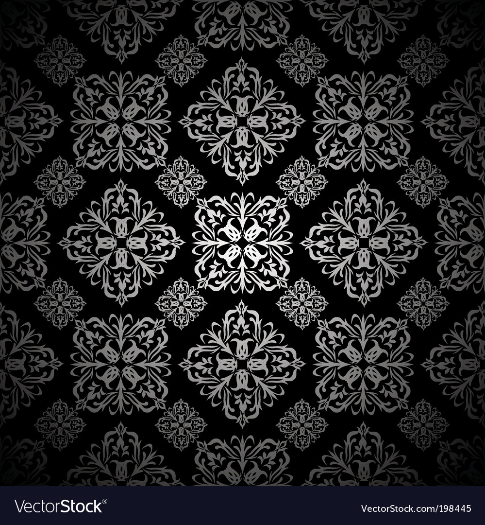 Floral Wallpaper Silver Tile Royalty Free Vector Image