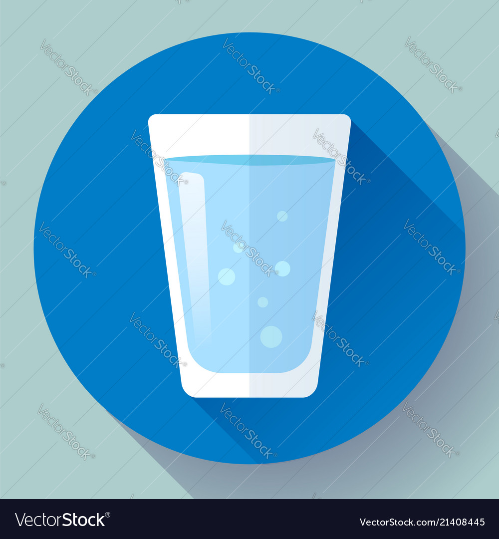 Glass of water icon flat design