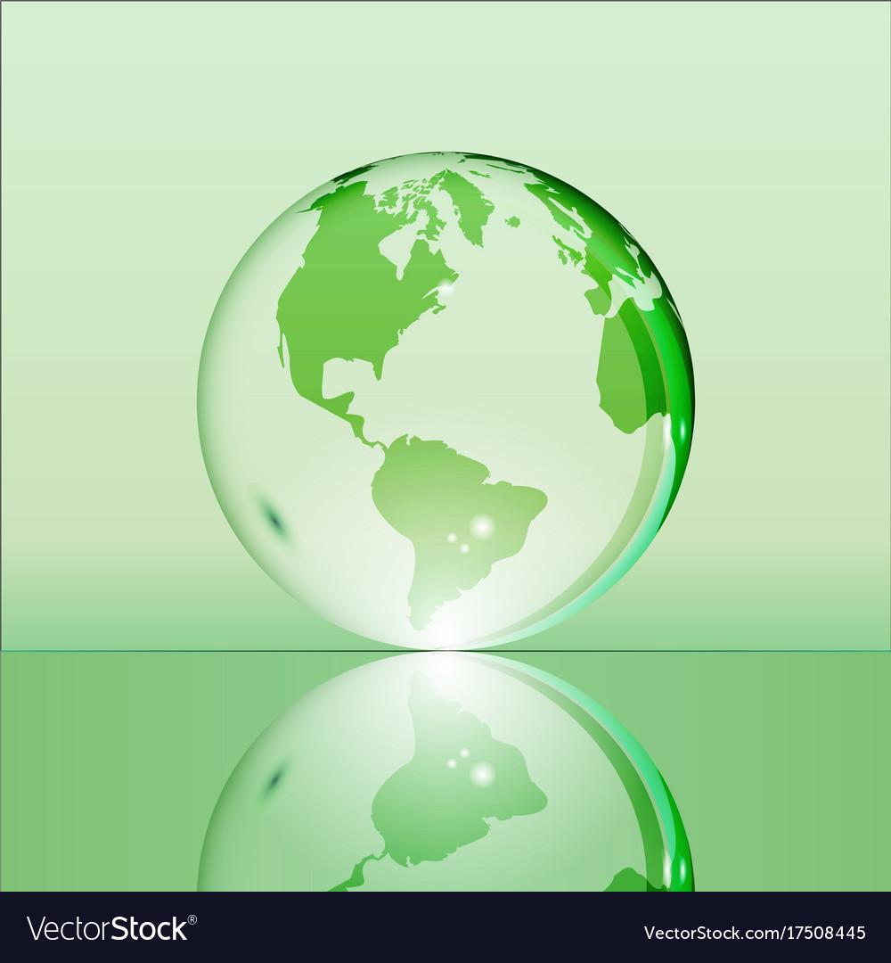 Green shining transparent earth globe