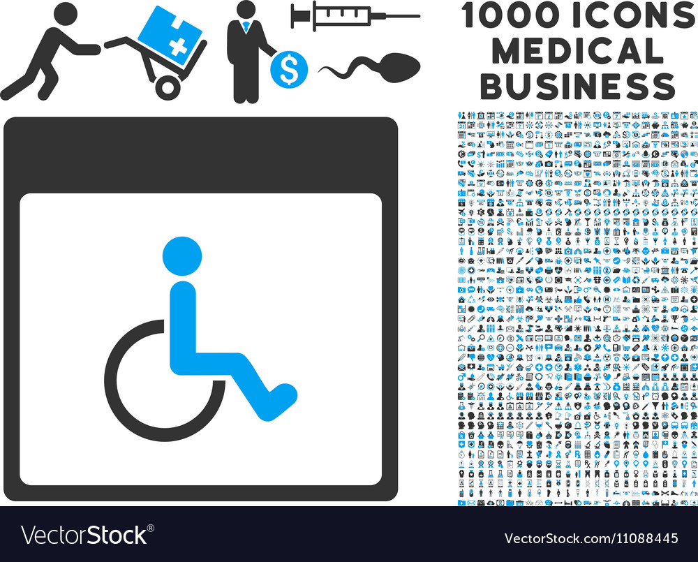 Handicapped Calendar Page Icon With 1000 Medical vector image