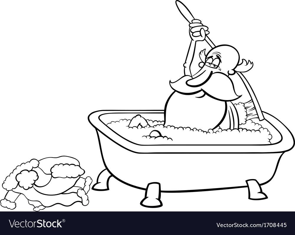 Santa taking bath coloring page Royalty Free Vector Image