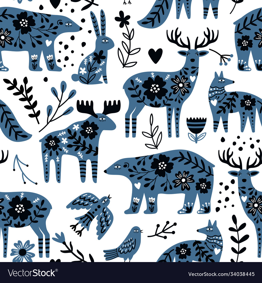 Scandinavian animals seamless pattern