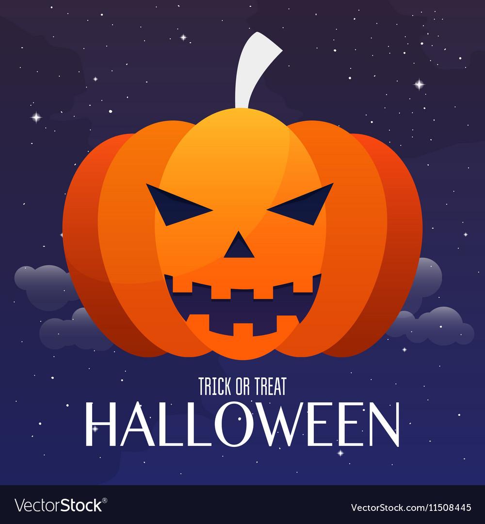 Scary Jack O Lantern halloween pumpkin on night