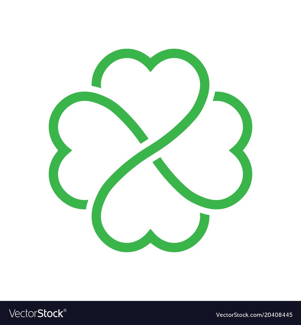 Shamrock silhouette - green outline four leaf
