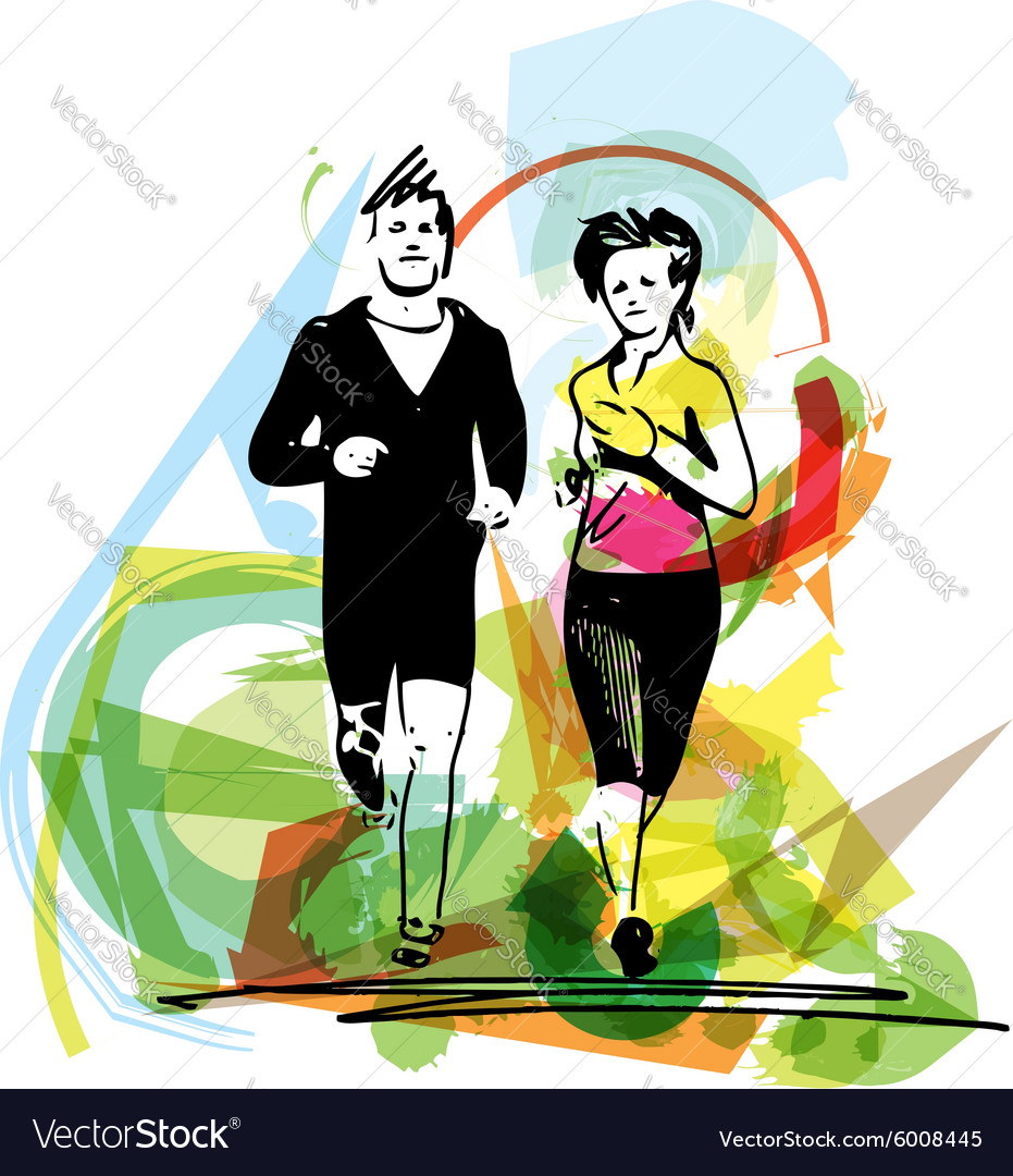 Young fitness couple of man and woman jogging in