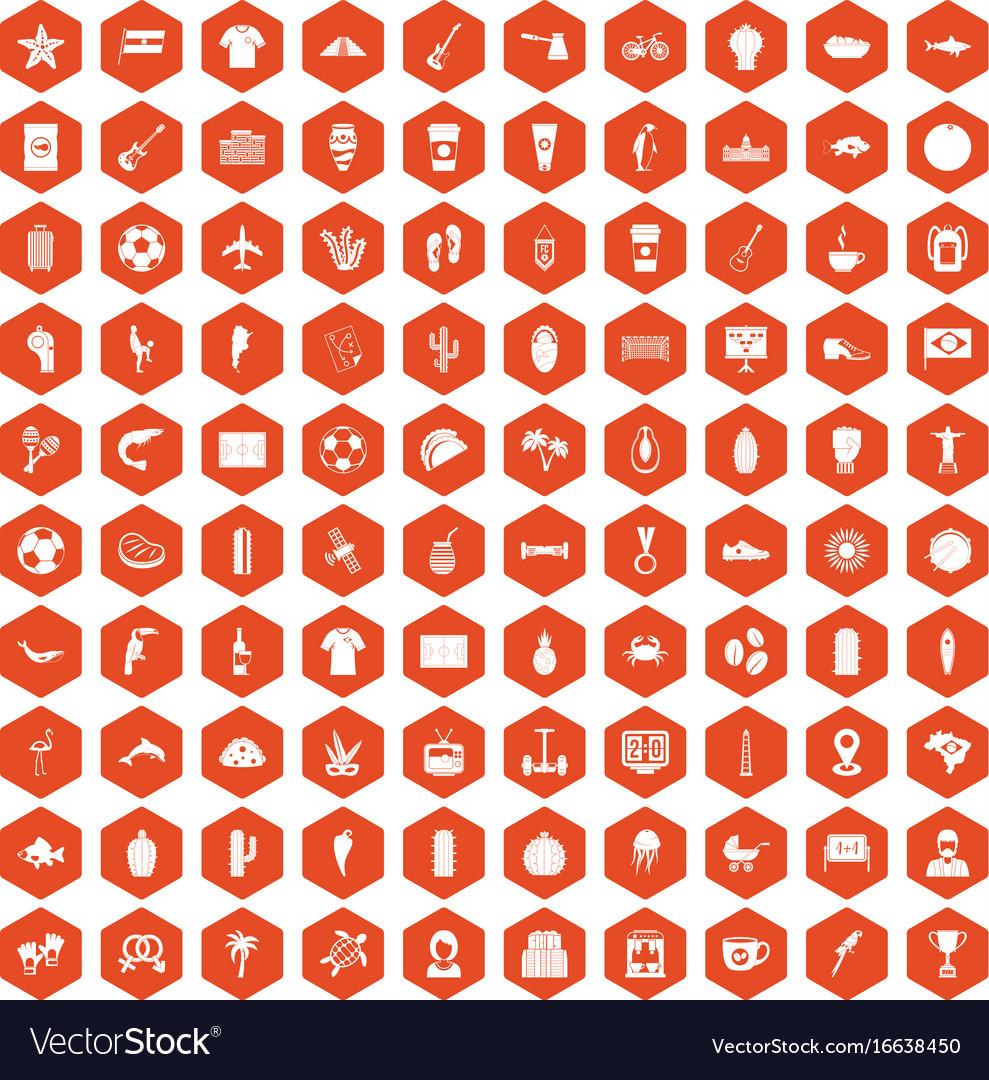 100 south america icons hexagon orange
