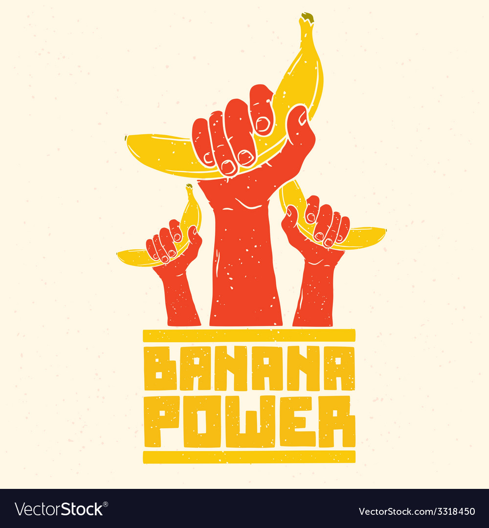 banana power isolated poster royalty free vector image