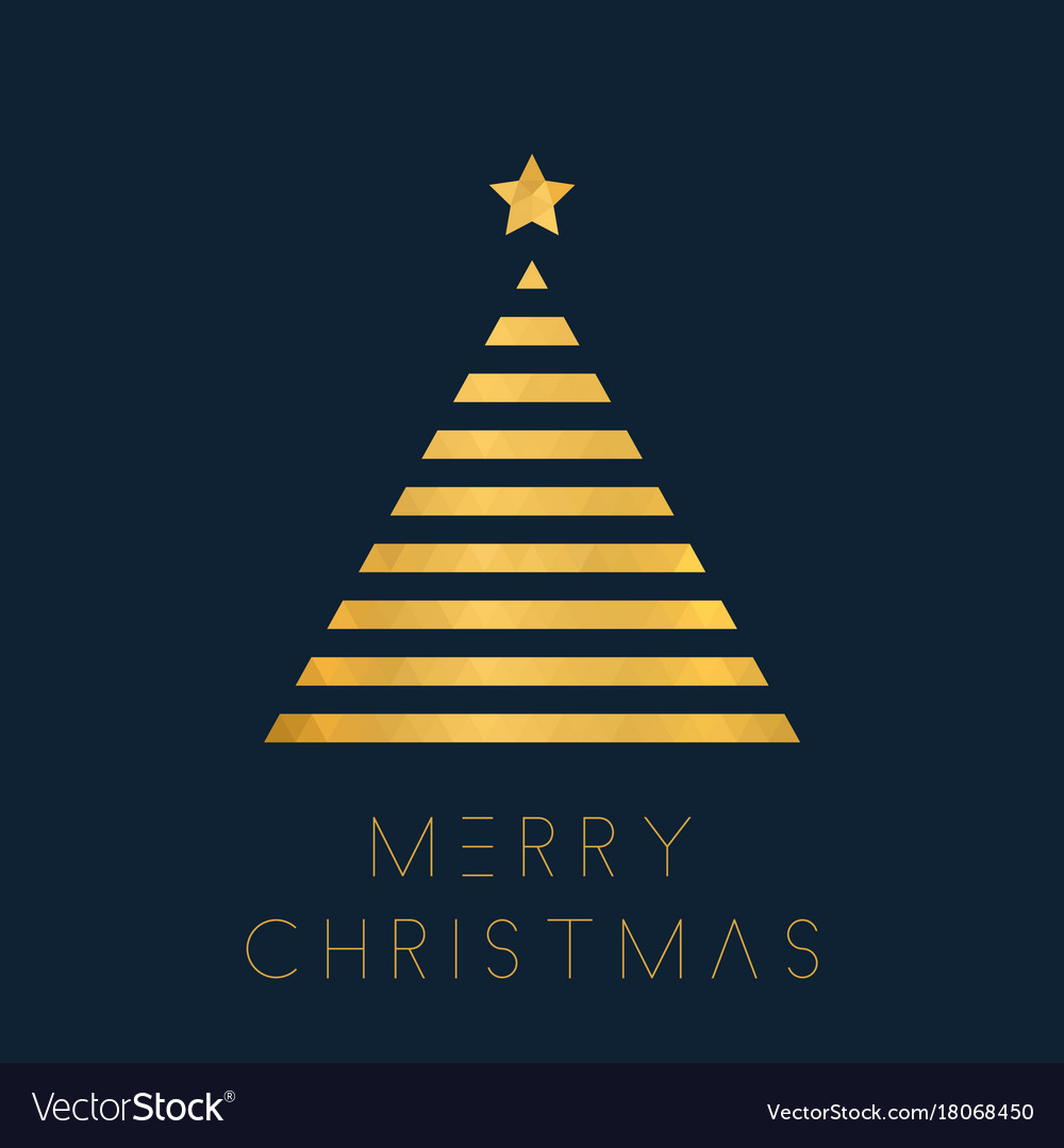 Christmas greeting card with golden polygon tree