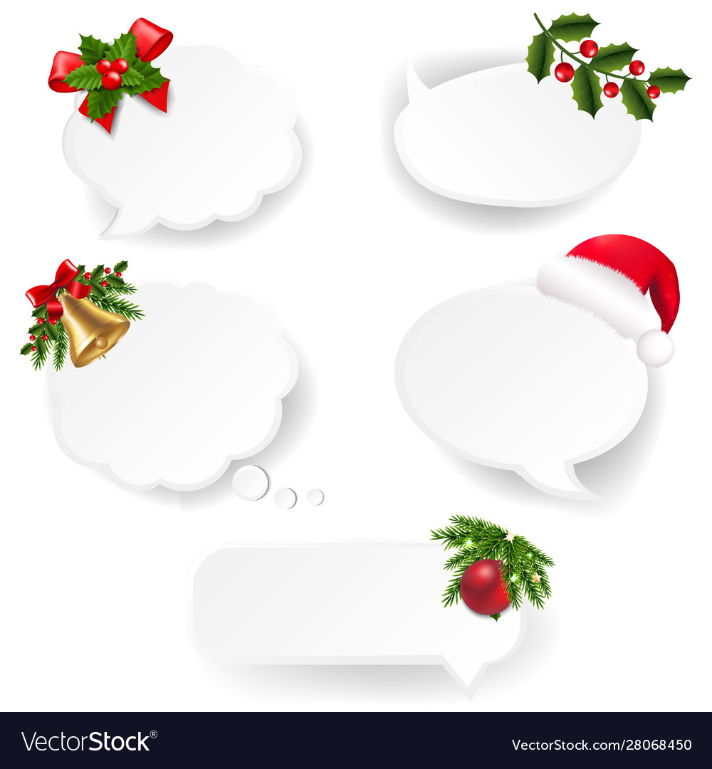 Christmas speech bubble set with white paper