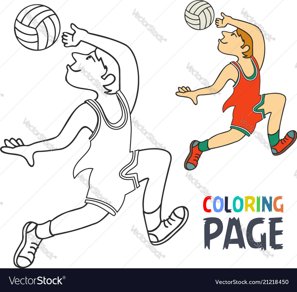Coloring page with volley ball player cartoon