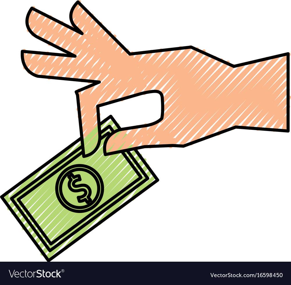 Hand human with bill money