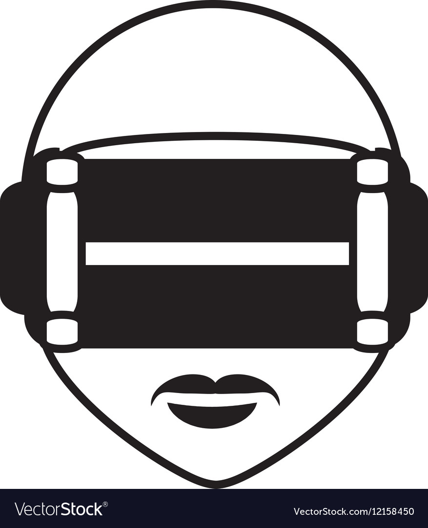 Man virtual reality glasses technology outline